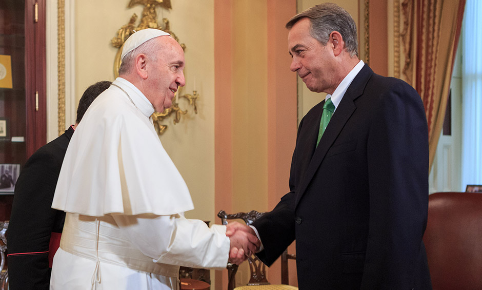 Speaker John Boehner welcomes Pope Francis to the U.S. capital.